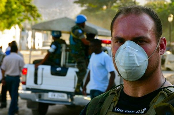 U.R.B.A.N. founder, Mike Warren, providing humanitarian aid in Haiti. Feb. 2010.